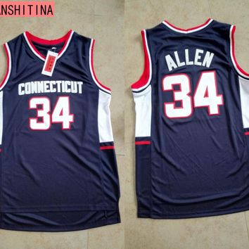 LANSHITINA#34 Ray Allen Connecticu Jersey Connecticut College Throwback Basketball Jersey camiseta  Shirt
