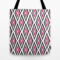 Pink & Black Ikat Diamonds Tote Bag by Bohemian Gypsy Jane