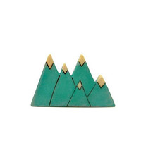 teal green triangle mountain wooden brooch