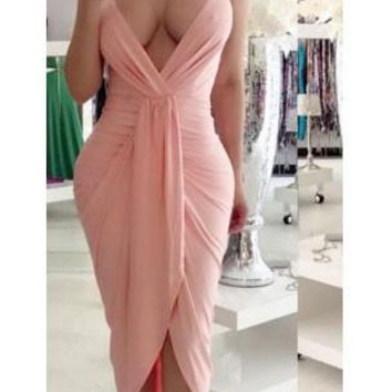 Casual Pink Irregular Ruched Backless Spaghetti Strap Deep V-neck Party Maxi Dress