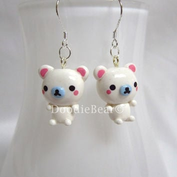 Polar Bear Kawaii Cute Polymer Clay Earrings by DoodieBear on Etsy