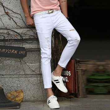 Hot 2017 White Ripped Jeans Men With Holes Cowboy Super Skinny Famous Designer Brand Slim Fit Destroyed Torn Jean Pants For Male