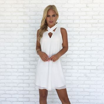 Eyes On You Shift Dress in White