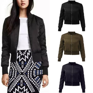 2016 High Street Fall Winter Motorcycle Coat Plus Size Zanzea Fashion Bomber Jacket Women V-neck Quilted Zipper Casual Padded