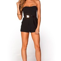 Alma Black Dressy Strapless Short Romper with Gold Belt Accent