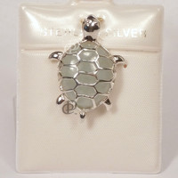 Pale Green Jade and Sterling Silver Turtle Pendant