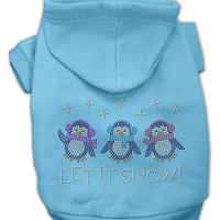 Let it Snow Penguins Rhinestone Dog Hoodie Baby Blue/Extra Small