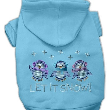 Let it Snow Penguins Rhinestone Dog Hoodie Baby Blue/XXX Large