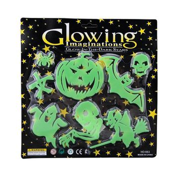 10sets/lot Halloween Supplies Party DIY Decorations Horror Glowing Imagination Pumpkin Witch Skull Wall Sticker For Decorate