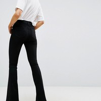 ASOS Bell Flare Jeans In Clean Black With Pressed Crease at asos.com