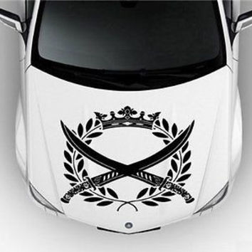 Hood Auto Car Vinyl Decal Stickers Abstract Crossed Swords Korn S3677
