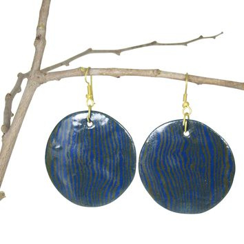 Handmade; LARGE Round Nerikomi Earrings; Vertical Waves: NAVY