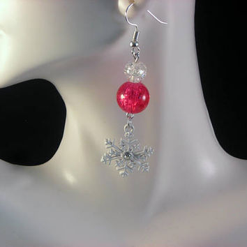 SNOWFLAKE - Christmas Dangle Earrings, Red & White Earrings, Christmas   Earrings, Holiday Earrings, Hostess Gift, Christmas Jewelry