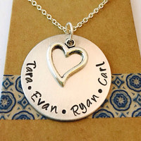 Name Necklace or Key Chain, Heart Charm, Hand Stamped Grandma Necklace or key chain, Gift from Grand Kids,Grandma Gift, Mommy Necklace