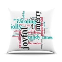 "Sylvia Cook ""Holiday Traditions"" Christmas Typography Outdoor Throw Pillow"
