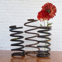 Lot of 3 GIANT Metal Coil Springs / Large Rusty Industrial Springs / Industrial Decor
