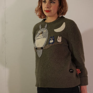 My Neighbor Totoro Inspired Needle-Felted Sweater featuring all three Totoros