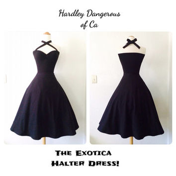 Sale, The Exotica Halter Dress, Casual Black Noir Cotton Lycra Knit ROCKABILLY Pin Up Gothic Punk Mod Cocktail, Custom Made to Order