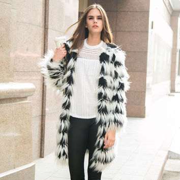 Wild Zebra-Fur Coat