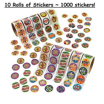 """10 Rolls ~ Reward Stickers ~ 1.5"""" Round Paper Stickers ~ 1000 Stickers Total ~ New / Shrink-wrapped"""