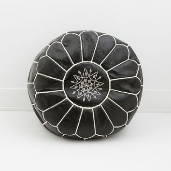 Moroccan Leather Pouf, Midnight Black