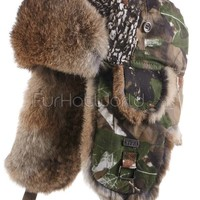 Rabbit Fur Aviator Hat - Camoflauge