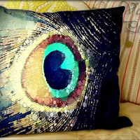 Peacock Feather - Pillow Cover and Pillow Case.