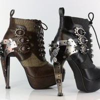 METROPOLIS HADES OXFORD GOTHIC STEAMPUNK VICTORIAN METAL GEARS PLATFORM ANKLE BOOTS HEELS:Amazon:Shoes