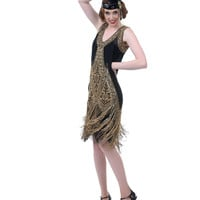 Unique Vintage Black & Gold Embroidered Reproduction 1920s Flapper Dress - Unique Vintage - Prom dresses, retro dresses, retro swimsuits.