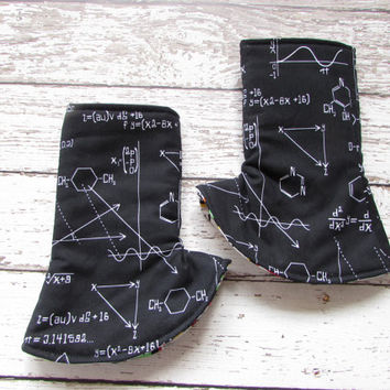 Science Molecules Corner Suck Pads, Black Science Molecules - Tula Accessories - Reversible Drool Pads - Suck Pads - Ready to Ship