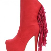 Red Fringe Platform Boots Nubuck Faux Leather
