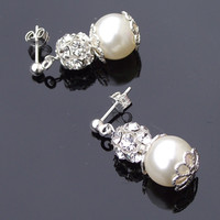 Filigree Bridal Ivory Pearl Earrings, Crystal Encrusted Wedding Pearl Earrings, MONROE
