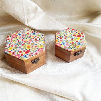 Set of two Trinket boxes decoupage flowers gift for her keepsake