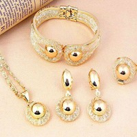 DCCKV2S Pixel Jewelry 1985 - African Costume Necklace Set Party Fashion Women Dubai Gold Plated Jewelry Sets