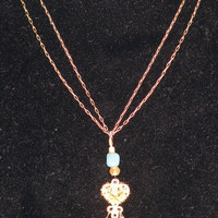 Sparc Jewelry- Aquamarine & Peruvian Opal Double Chain Necklace