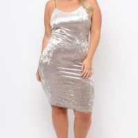 Plus Size Velvet Cami Dress - Grey