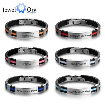 Personalized Custom Stainless Steel Bracelets & Bangles Fashion Jewelry Gift for Lover