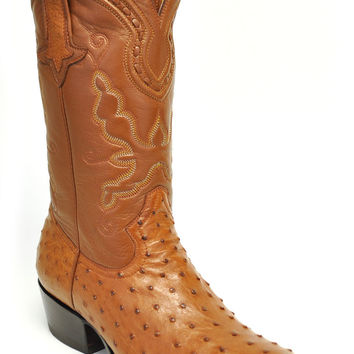 Gavel Handcrafted Men's Full Quill Ostrich R-Toe Cowboy Boots-Cognac