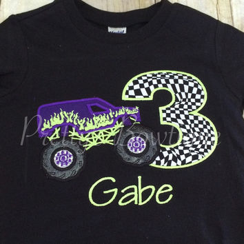 Boys Birthday Monster Truck - Monster Truck Birthday Shirt any age you can pick colors and fabrics