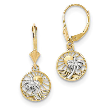 14k & Rhodium Palm Tree Leverback Earrings H1128