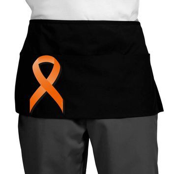 Leukemia Awareness Ribbon - Orange Dark Adult Mini Waist Apron, Server Apron