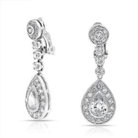 Bling Jewelry CZ Teardrop Bridal Drop Earrings Clip On Rhodium Plated