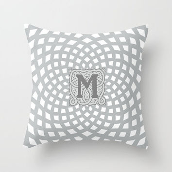 Decorative Throw Pillow - 4 different sizes, With, Without, Inserts, Indoors, Outdoors, Monogram, Initials, Names, Date, Rosette, Classic