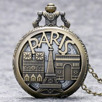 Eiffel Tower Pocket Watch France Paris Famous Building Triumphal Arch Notre Dame White Arabic Number Pocket Watch Chain Gift Bag