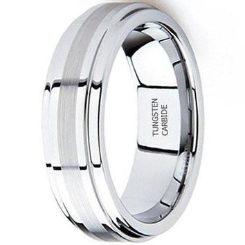 8MM Tungsten Metal Wedding Band Ring in Comfort Fit and Brush Center (Platinum)