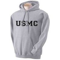 USMC Athletic Marines Hooded Sweatshirt in Gray - Medium