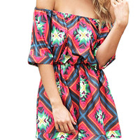 Tribal Print Off the Shoulder Elastic Waist Romper