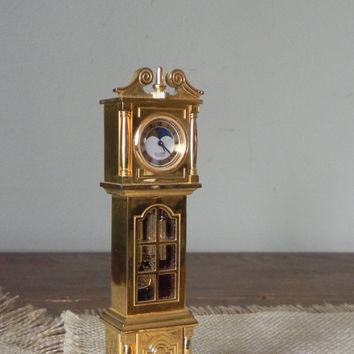 Vintage Bulova boutique grandfather clock collectible miniature B0553 Covington with working moon phase