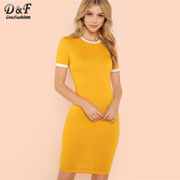 Dotfashion Contrast Tape Pencil Dress Female Round Neck Short Sleeve Bodycon 2018 Summer Ginger Elegant Slim Going Out Dress