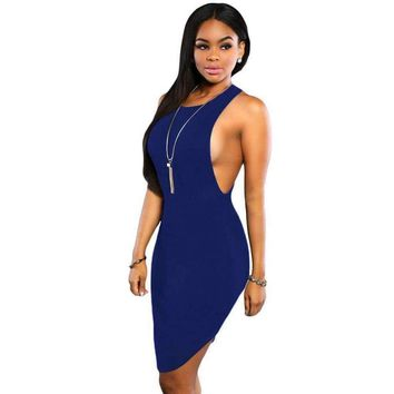 Navy Blue Daring Sleeveless Knit Dress
